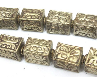 1 BEAD - Tibetan silver repousse floral leaf carving rectangle cube shape bead - BD903