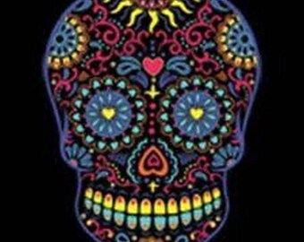 Neon Sugar Skull Day of the Dead WOMENS SHORT SLEEVE T Shirt 17459
