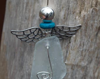 Aqua sea glass angel; angel ornament; Christmas ornament