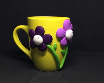Creation Cup made in Fimo inspired by spring... that makes you wait!