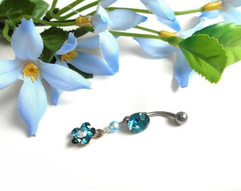 Blue indicolite and aquamarine AB Swarovski crystal flower belly button ring