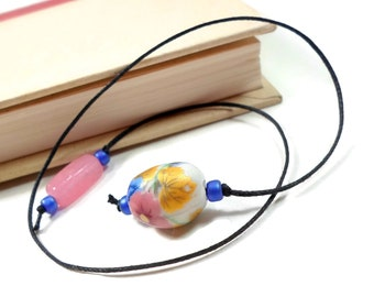 Blue, Pink Flower Porcelain Beaded Bookmark, Book Thong, String Bookmark, Book Club, Teacher Gift, Gift for Student, Bible Bookmark