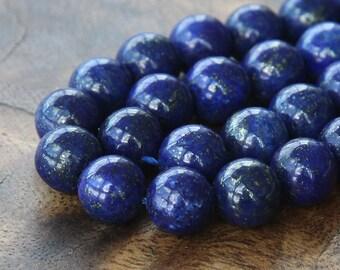 Lapis Lazuli Gemstone Beads, 10mm Round - 15 inch strand - EGR-LL002-10