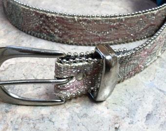 Glitter Belt • Vintage 80s Belt • Silver Edged Belt • Funky Belt • Silver Glitter Belt • Hippie Belt - Boho Belt