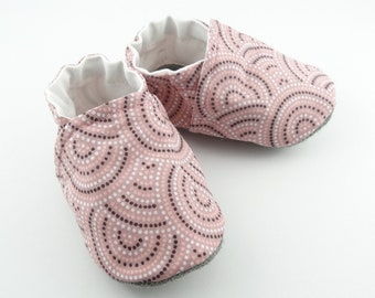 Leather sole and pink cotton baby booties, slippers soft sole non-slip leather children shoes