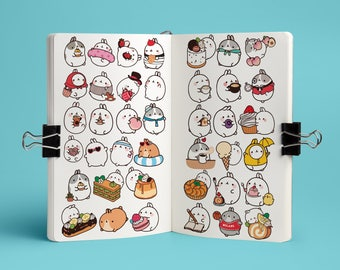 Molang/bunny die-cut Stickers in white paper with full color ink (52 pcs)