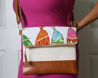 Bird Crossbody Bag, Crossbody Purse, Tan Crossbody, Crossbody Strap, Brown Faux Leather, Clutch Bag, Crossbody Handbag, Mothers day gift
