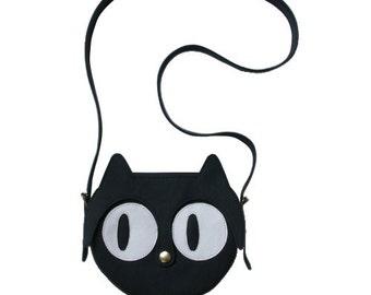 Leather Cat Bag, shoulder bag, animal bag, Cat Bag, leather bag, black leather bag