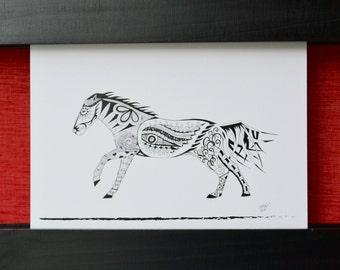 Horse Greeting Card, Blank Card, Greeting Card, Horse Art Card, Thank You Card, Birthday Card, Horse Art, Zentangle Cards - Single Card