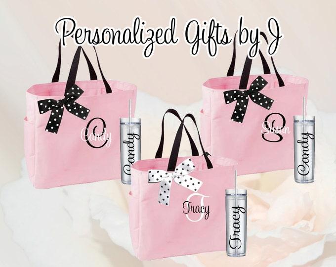 15 Totes and Tumblers, Bridesmaid Gifts, Bridesmaid Bags, Skinny Tumblers, Bridesmaids Totes and Tumbler Set, Bridal Party Gift, Wedding Bag