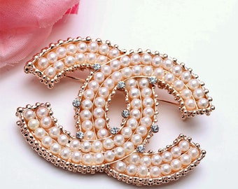 Large Pearl crystal Brooch Fast  Shipping