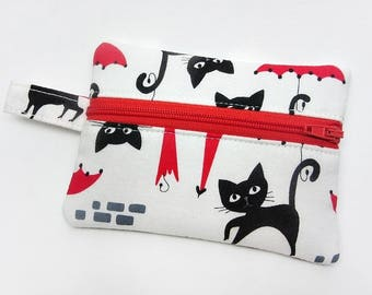 Coin purse, zipper pouch, zipper purse, change wallet, cat coin purse, cat zipper pouch, kids coin purse, cat wallet, cat lover accessory