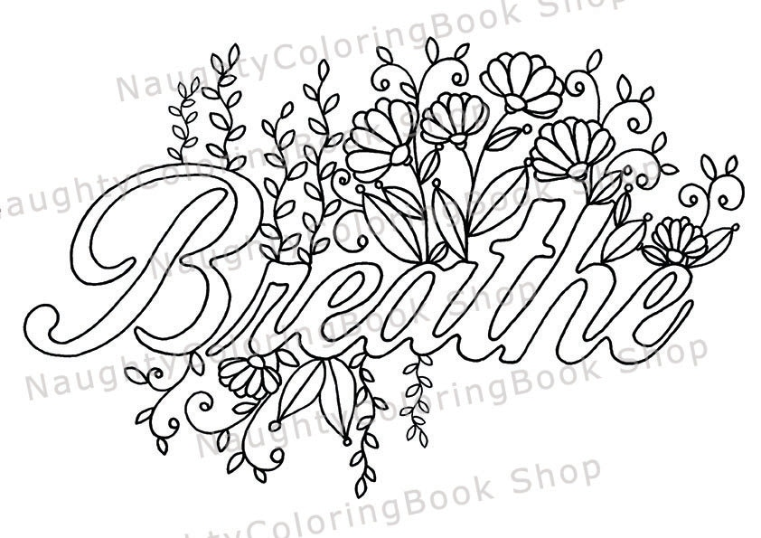 Breathe Printable Gift Coloring Page Yoga Gifts Positive