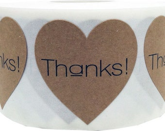 "1.5"" Thanks! Natural Kraft Heart Stickers 