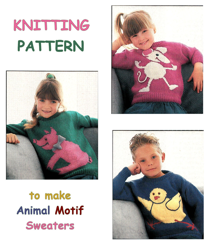 Instant Download PDF Intarsia KNITTING PATTERN to make Childrens ...