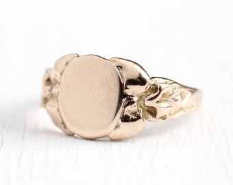 Antique Signet Ring - Art Nouveau 10k Rosy Yellow Gold Oval Blank Band - Vintage Edwardian 1900s Size 6 Flower Floral Jewelry