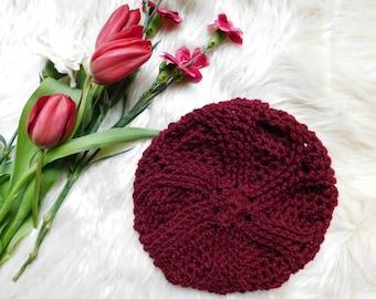 "The ""Rose"" slouchy beret Crochet hat. Women hat. Beret hat. Spring,Fall beret hat."