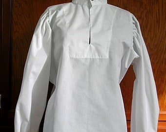 In stock! White Fencing Shirt - Buttoned Collar and Cuffs - SCA Rapier Armor