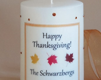 Thanksgiving Swarovski Crystal 3x4 Candle