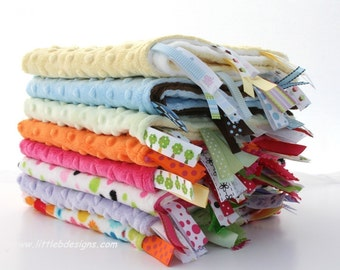 Personalized Ribbon Lovey Tag Blanket - Design Your Own with over 30 Fabrics Available