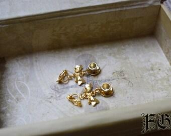 Golden Tea Cup Kawaii Clip On Lolita Earrings