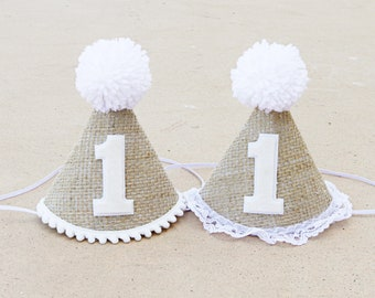 Boys Girls Twins 1st Birthday Burlap and White Party Hat - First Birthday Hat - Chic - Neutral Cake Smash