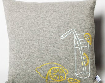 Cushion in grey jersey lemonade for children