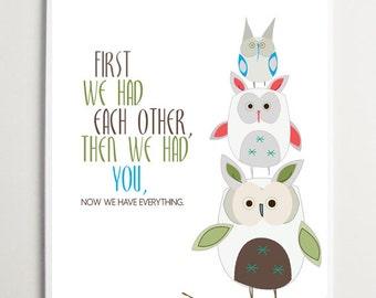 "Cute Bunnies Nursery Wall Art, Woodland, ""First we had each other""- 11x14- Owls Nursery Decor, Baby Shower gift, Baby Girl Decor, Word Art"