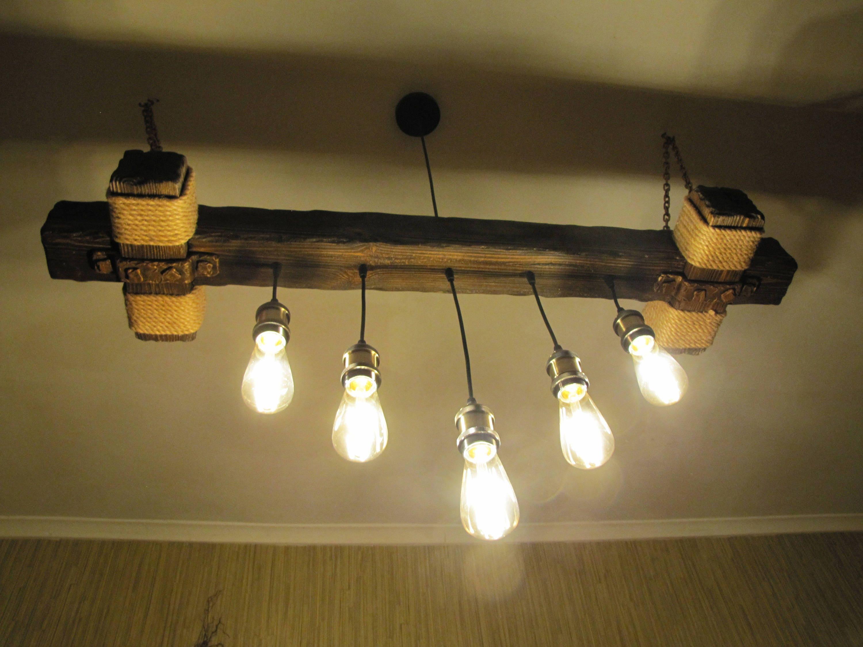 Natural wooden lamp Rustic light fixture Wood light fixture