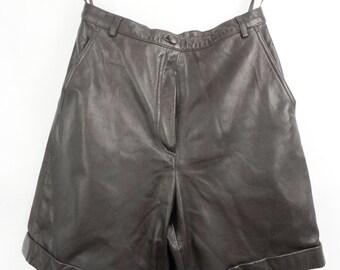 Vintage LEATHER SHORTS,  Genuine Leather Pants, Dark Brown