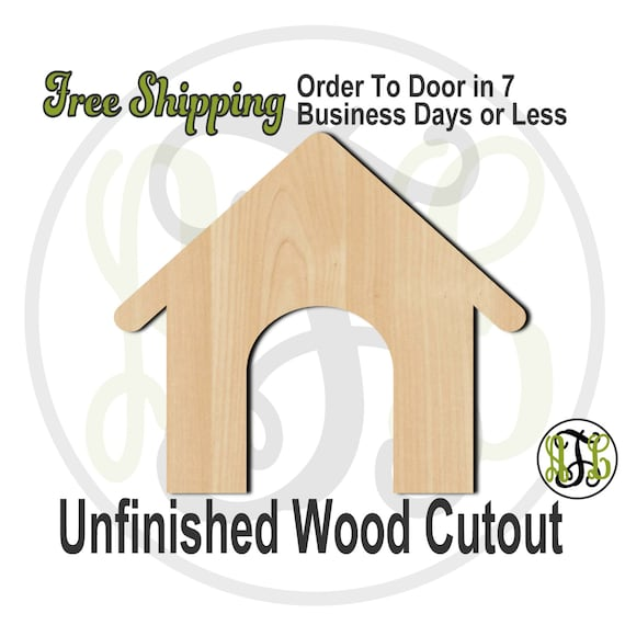 Dog House- 300104- Animal House Cutout, unfinished, wood cutout, wood craft, laser cut shape, wood cut out, Door Hanger, wooden