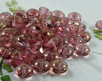 Czech Glass Beads Luster Transparent Topaz Pink Donut 11x7mm- 10 beads