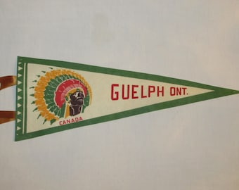 Vintage GUELPH ONTARIO PENNANT with Colorful Indian Head