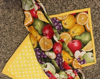 Fruit, Cow, Rooster, Owl, and Vegetable Bag and Pot Holders, single or matching set