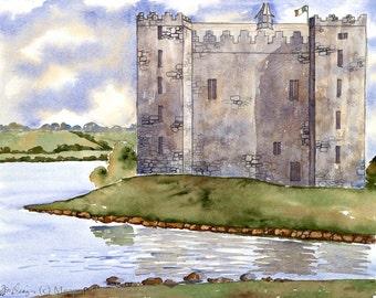 Castle Painting - Bunratty Castle - Ireland Fine Art Watercolor print - Castle Watercolor