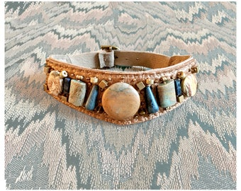 The EMBELLISHED COLLAR by Gilded-Mane: Jasper, African Turquoise, Sodalite & Brass Beads on Rose Gold Metallic Leather