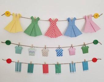 Laundry room decor-laundry decor-laundry room wall decor- origami-paper origami clothes- girls room wall decor-fun wall decor-fun home decor