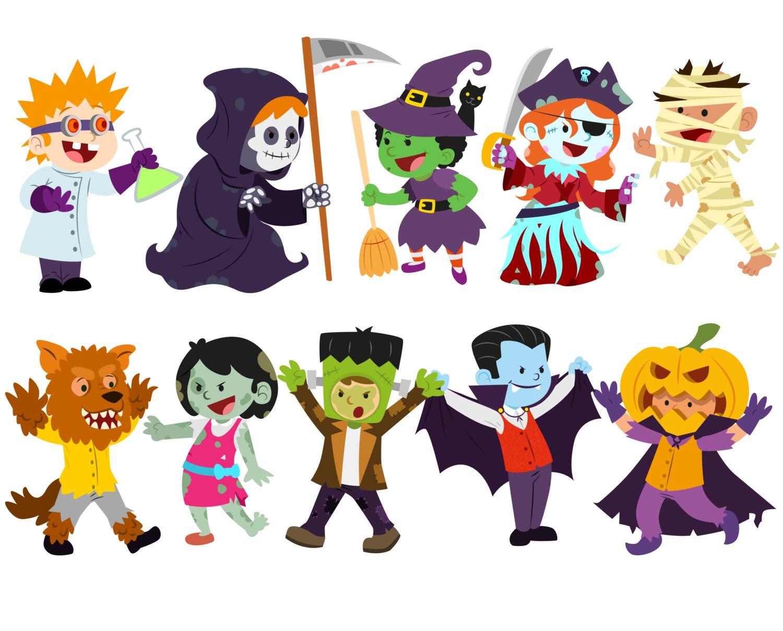 Halloween clipart Costume clipart Halloween kids clipart Trick