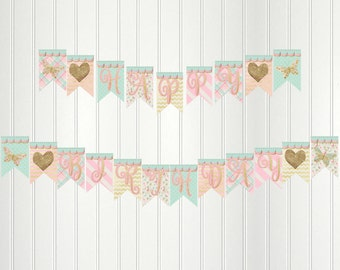 Sparkle and Shine Banner, Mint Green, Pink, Gold, Happy Birthday Banner, Sparkle Party, Birthday, Bunting, Butterfly, Sparkle, Banner