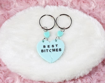 Best Friends Matching Keychains or Charms Half Hearts