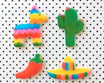 Fiesta Cake Toppers (12) Edible Decorations, Mexican Fiesta, Fiesta Birthday, Cactus Cake Topper, Piñata Edible Sugars, Red Pepper, Sombrero