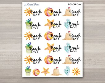 Beach Day Planner Stickers || 21 Stickers