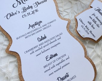 Set Of 10 Baby Shower Menus, Gold Rose Gold Baby Shower Menu, Handmade Menu