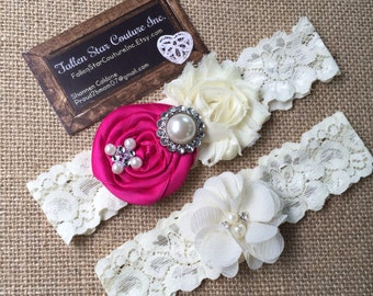 Wedding garter / David's Bridal Begonia  / wedding  garter SET / bridal  garter/  lace garter / vintage lace garter