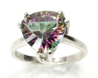 Billionen Quarz-Ring, 4ct Rainbow Quarz Aussage Ring, Sterling Silber Ring, Verlobungsring, Diamant-Alternative, Abish Schmuck Werke
