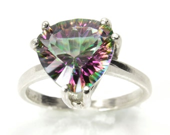 Trillion Quartz Ring, 4ct Rainbow Quartz Statement Ring, Sterling Silver Ring, Engagement Ring, Diamond Alternative, Abish Jewelry Works