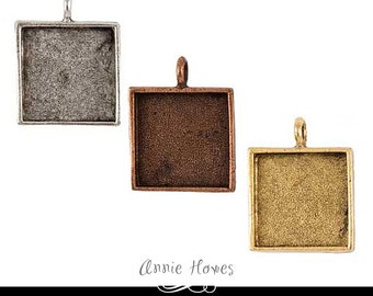 Photo Jewelry Pendant Setting. 24mm Square Bezel Pendant Setting in Silver, Copper, or Gold.