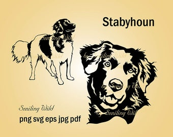 stabyhoun svg vector graphic art Frisian Pointer clipart stabyhoun png silhouette dog head face commercial art printable instant download