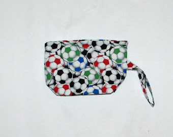 Soccer Cosmetic Bag, Wristlet Purse, Small Clutch, Gifts For Soccer Moms, Players, No Shipping Fee, Ready To Ship TODAY, AGFT 847