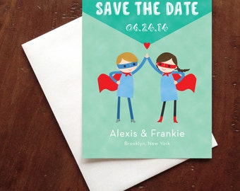 Custom Bride & Groom Super Heroes Wedding Save the Date Card - Postcard